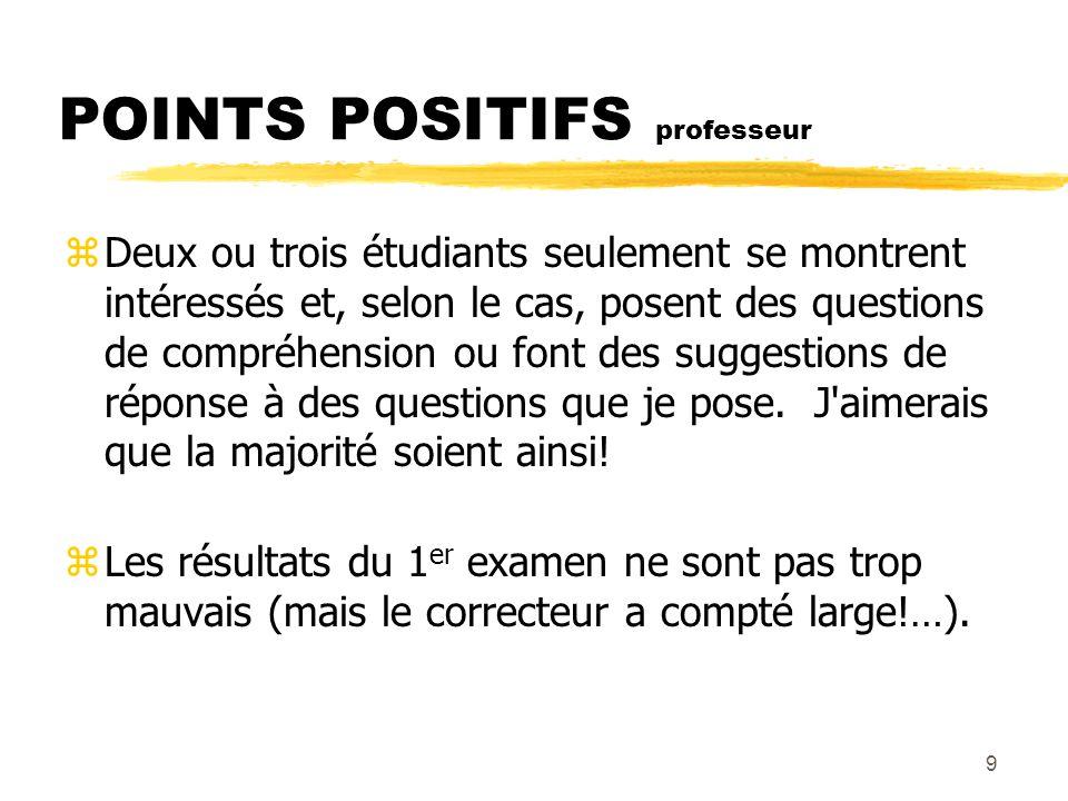 9 POINTS POSITIFS professeur zDeux ou trois étudiants seulement se montrent intéressés et, selon le cas, posent des questions de compréhension ou font