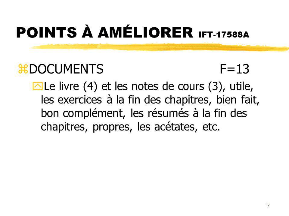 8 POINTS À AMÉLIORER IFT-17588A zNOTES DE COURSF=13 yPas claires (3), pas toutes les réponses, des questions du livre, des erreurs, aident très peu (2), exercices partiels, etc.