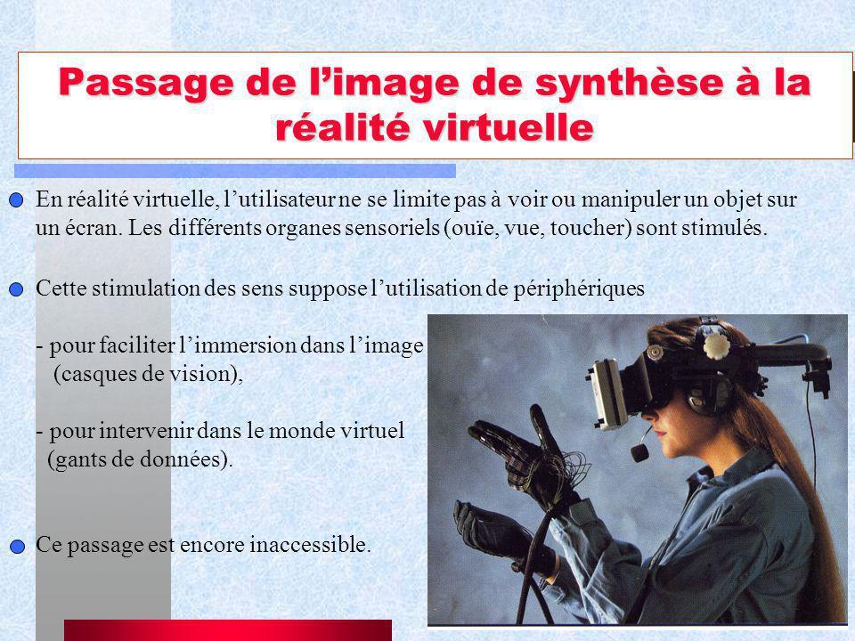 11 Passage de limage de synthèse à la réalité virtuelle En réalité virtuelle, lutilisateur ne se limite pas à voir ou manipuler un objet sur un écran.