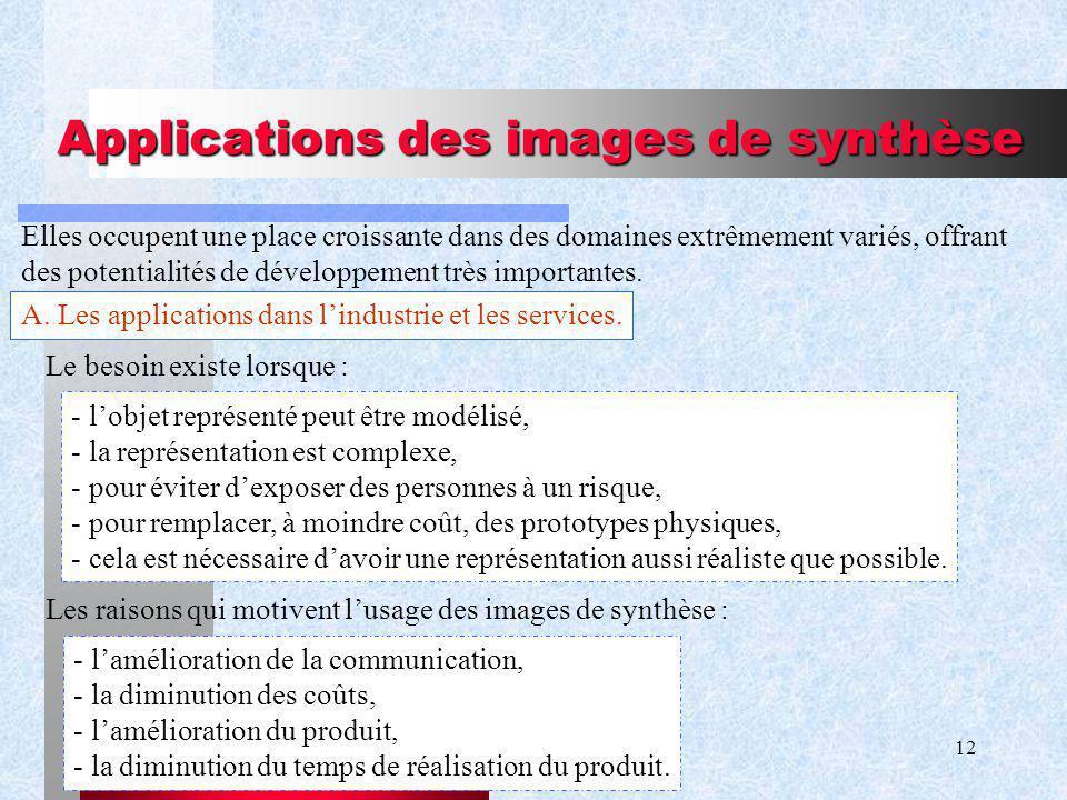 12 Applications des images de synthèse Elles occupent une place croissante dans des domaines extrêmement variés, offrant des potentialités de développement très importantes.