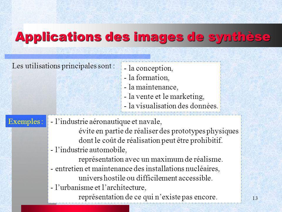 13 Applications des images de synthèse Les utilisations principales sont : - la conception, - la formation, - la maintenance, - la vente et le marketing, - la visualisation des données.