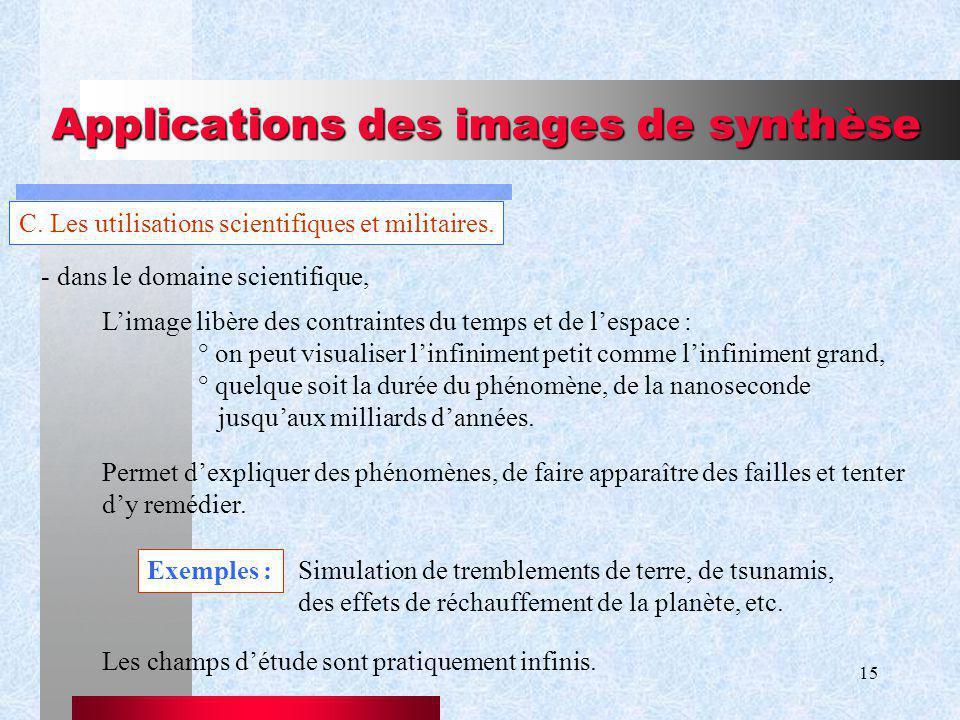 15 Applications des images de synthèse C.Les utilisations scientifiques et militaires.
