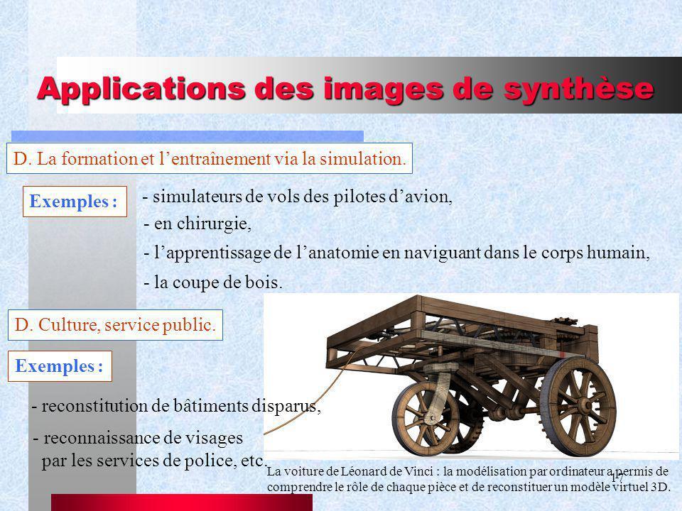 17 Applications des images de synthèse D.La formation et lentraînement via la simulation.