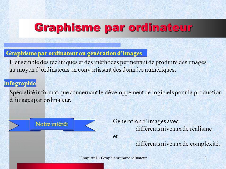 Chapitre I - Graphisme par ordinateur3 Graphisme par ordinateur infographie Spécialité informatique concernant le développement de logiciels pour la production dimages par ordinateur.