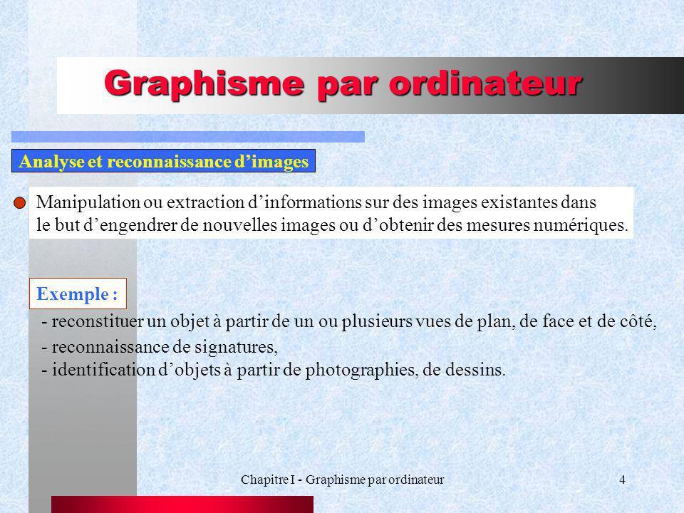 Chapitre I - Graphisme par ordinateur4 Graphisme par ordinateur Manipulation ou extraction dinformations sur des images existantes dans le but dengendrer de nouvelles images ou dobtenir des mesures numériques.