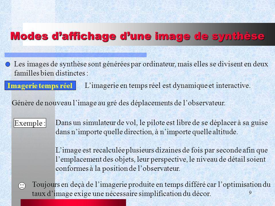 9 Modes daffichage dune image de synthèse Les images de synthèse sont générées par ordinateur, mais elles se divisent en deux familles bien distinctes : Imagerie temps réel Génère de nouveau limage au gré des déplacements de lobservateur.