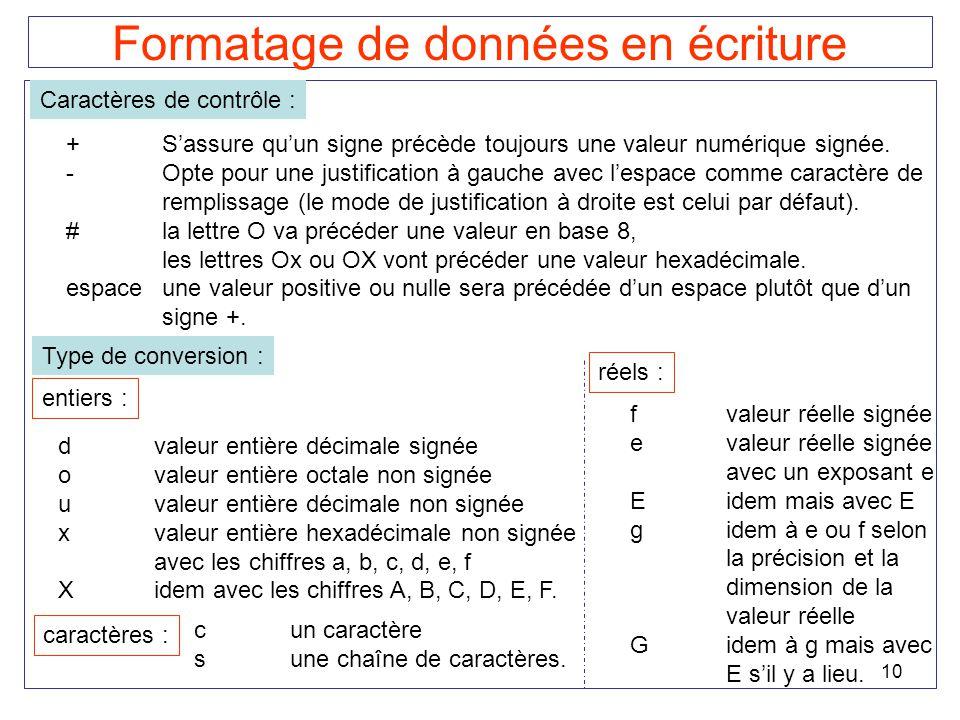 10 Formatage de données en écriture Caractères de contrôle : +Sassure quun signe précède toujours une valeur numérique signée. -Opte pour une justific