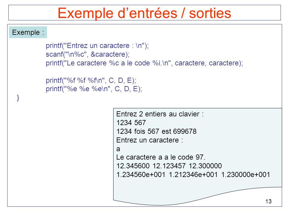 13 Exemple dentrées / sorties Exemple : printf(