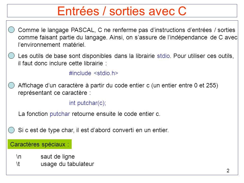 2 Entrées / sorties avec C Comme le langage PASCAL, C ne renferme pas dinstructions dentrées / sorties comme faisant partie du langage. Ainsi, on sass