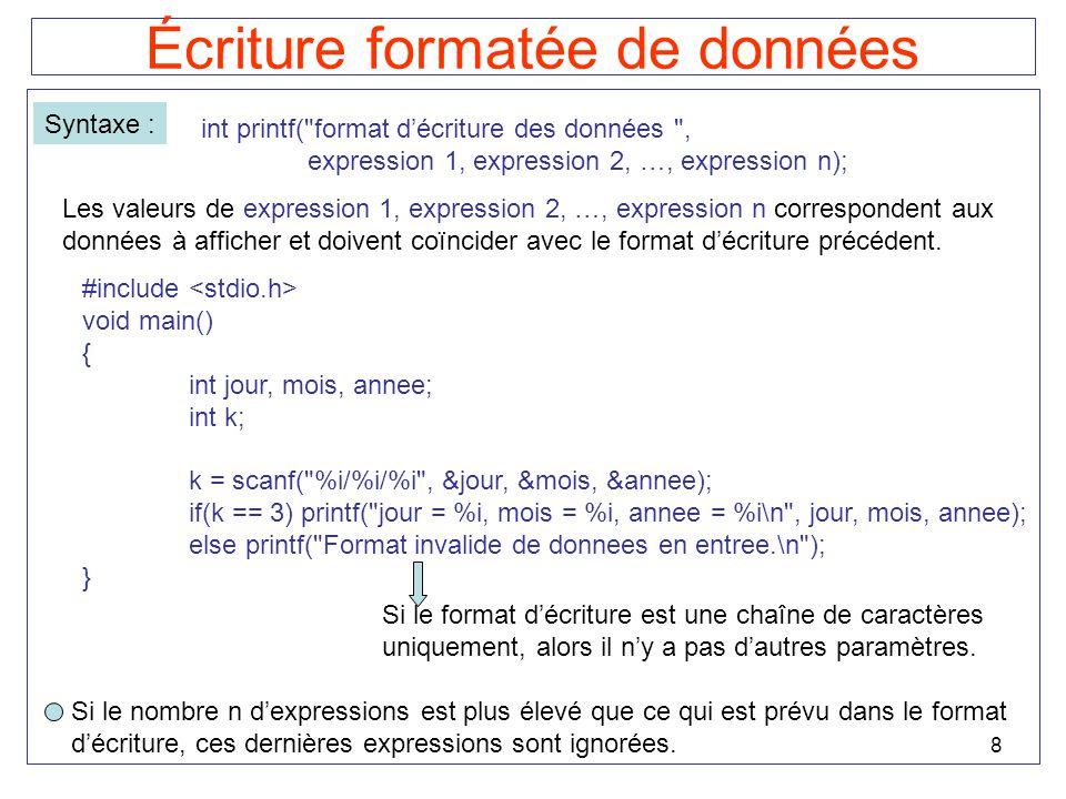 8 Écriture formatée de données Syntaxe : int printf(