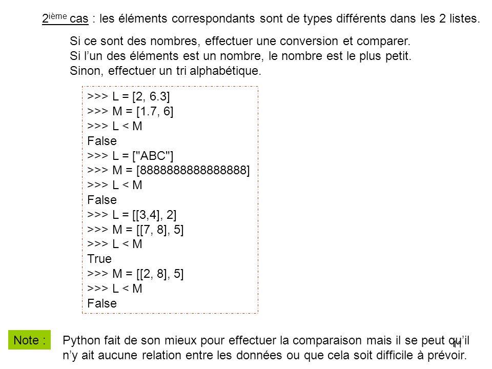 11 2 ième cas : les éléments correspondants sont de types différents dans les 2 listes. >>> L = [2, 6.3] >>> M = [1.7, 6] >>> L < M False >>> L = [