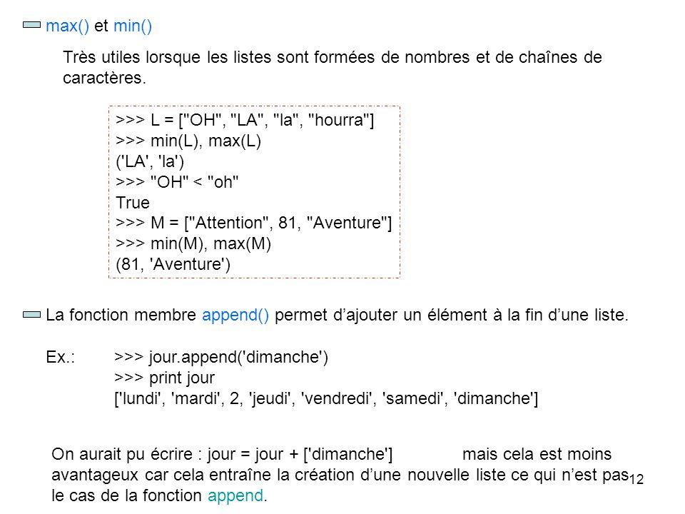 12 La fonction membre append() permet dajouter un élément à la fin dune liste. Ex.:>>> jour.append('dimanche') >>> print jour ['lundi', 'mardi', 2, 'j