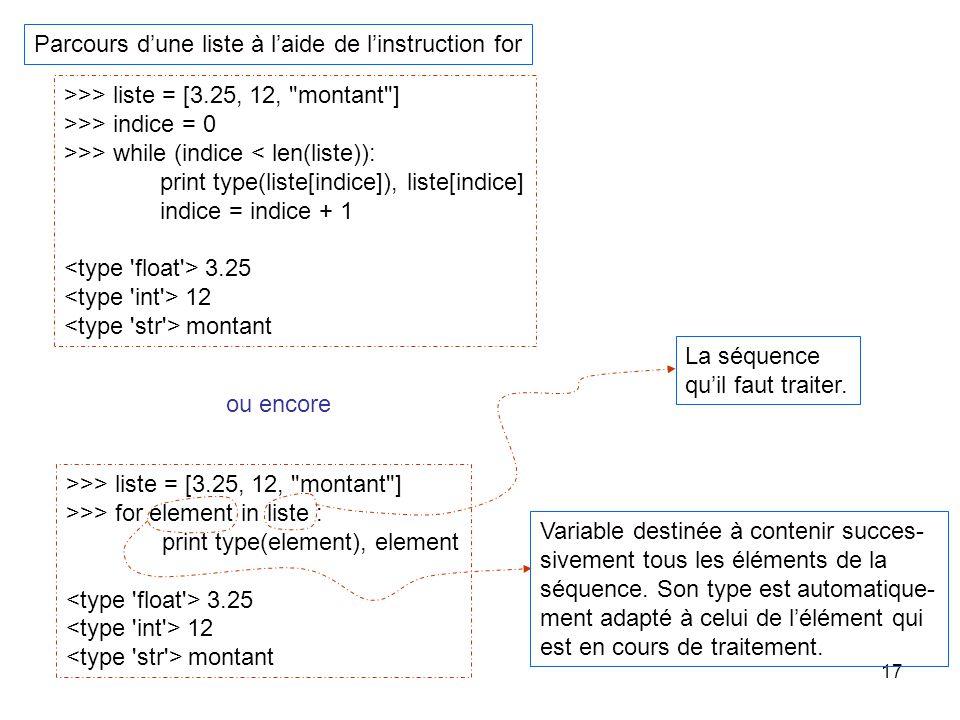 17 Parcours dune liste à laide de linstruction for >>> liste = [3.25, 12,