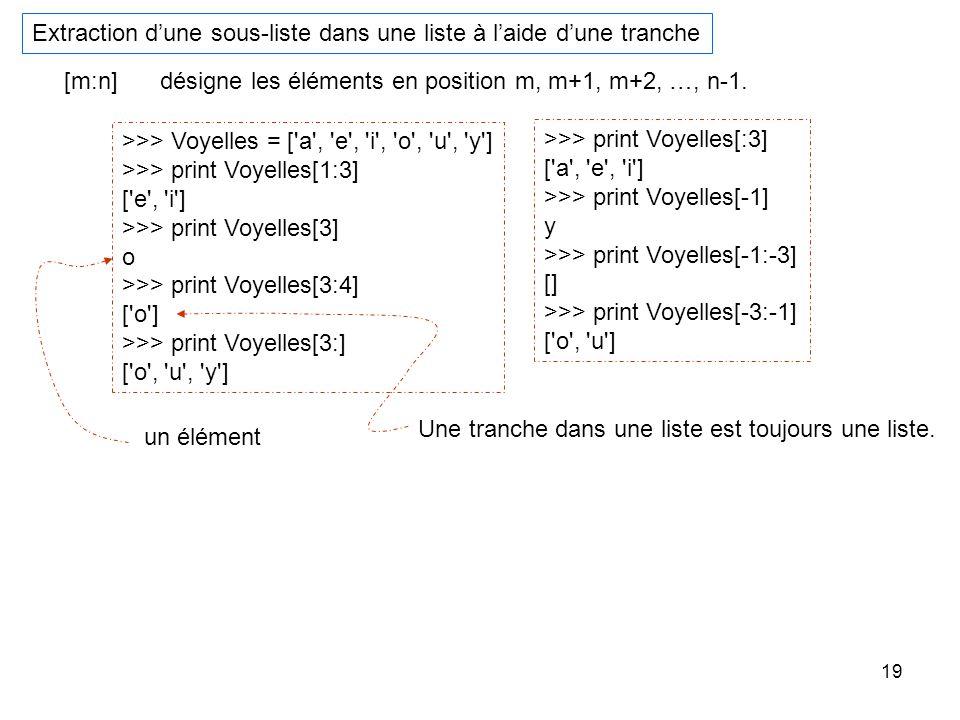 19 Extraction dune sous-liste dans une liste à laide dune tranche [m:n]désigne les éléments en position m, m+1, m+2, …, n-1. >>> Voyelles = ['a', 'e',