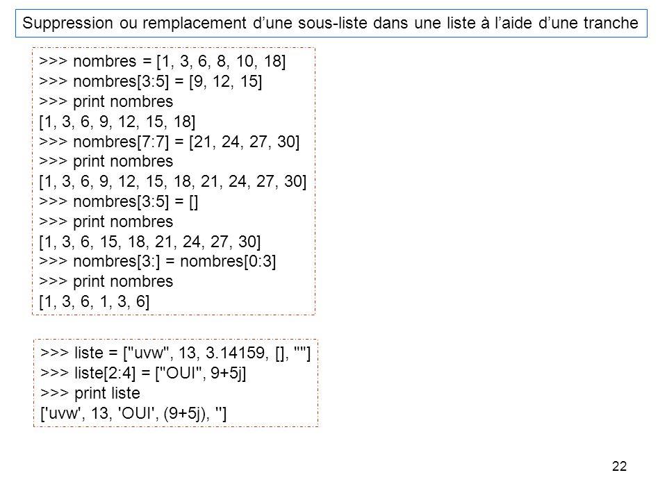 22 Suppression ou remplacement dune sous-liste dans une liste à laide dune tranche >>> nombres = [1, 3, 6, 8, 10, 18] >>> nombres[3:5] = [9, 12, 15] >