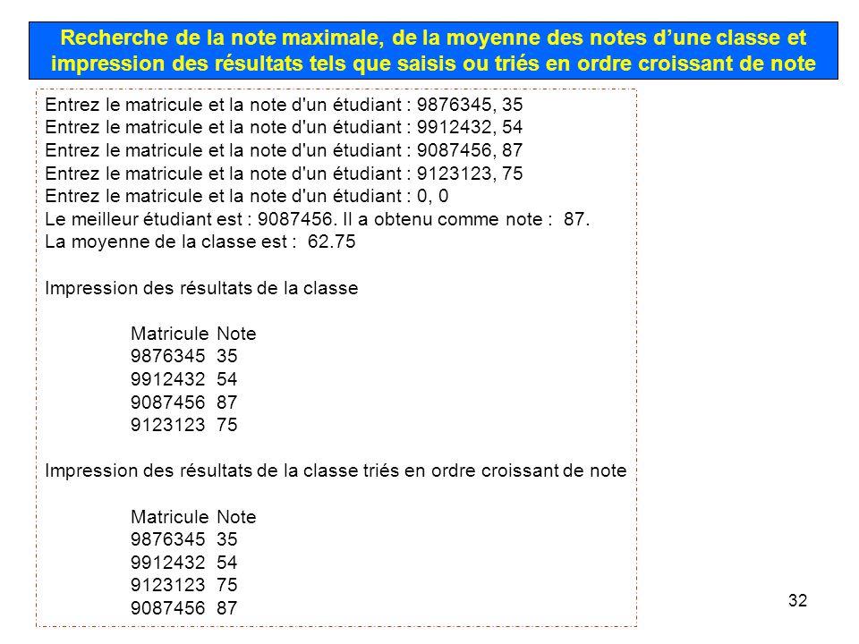 32 Recherche de la note maximale, de la moyenne des notes dune classe et impression des résultats tels que saisis ou triés en ordre croissant de note