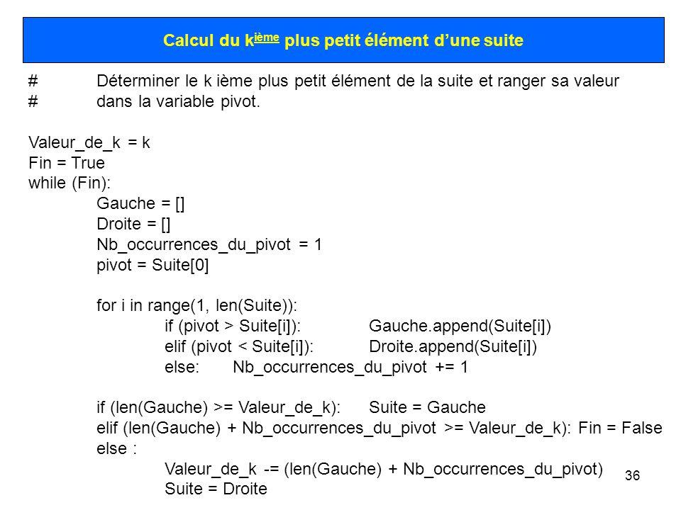 36 Calcul du k ième plus petit élément dune suite #Déterminer le k ième plus petit élément de la suite et ranger sa valeur #dans la variable pivot. Va