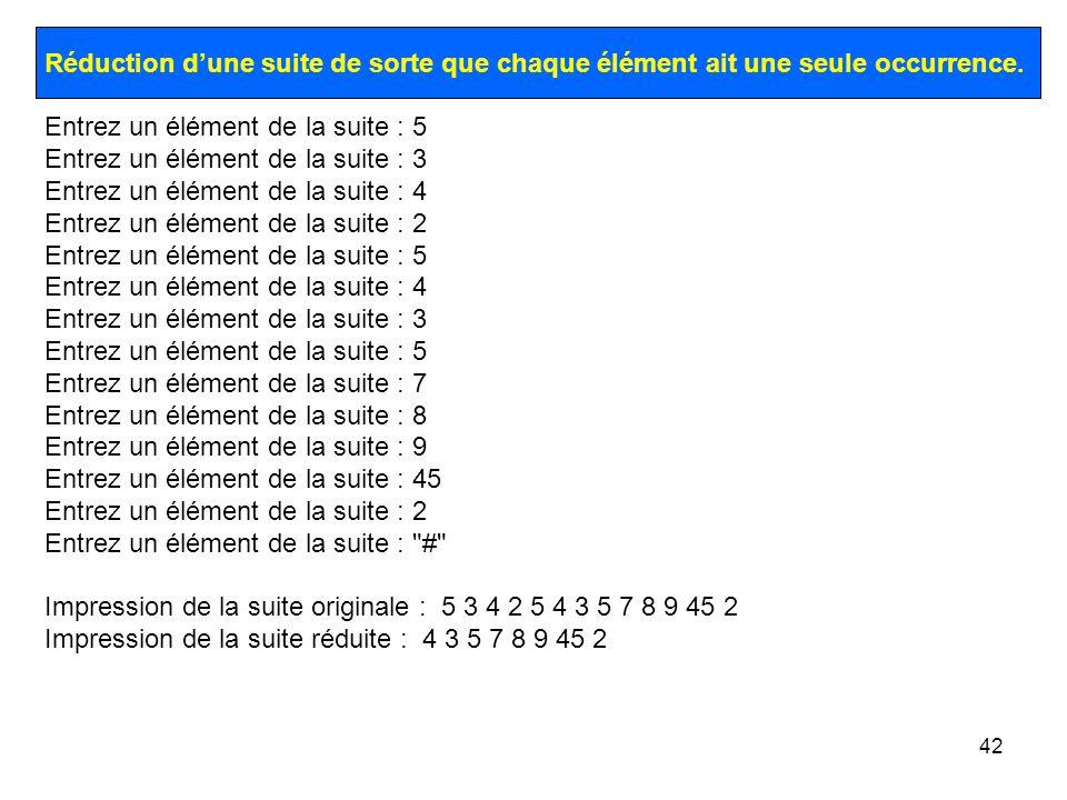 42 Réduction dune suite de sorte que chaque élément ait une seule occurrence. Entrez un élément de la suite : 5 Entrez un élément de la suite : 3 Entr
