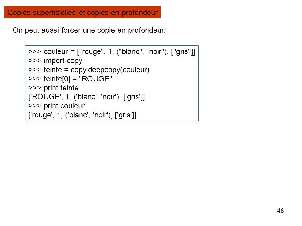 46 Copies superficielles et copies en profondeur >>> couleur = [