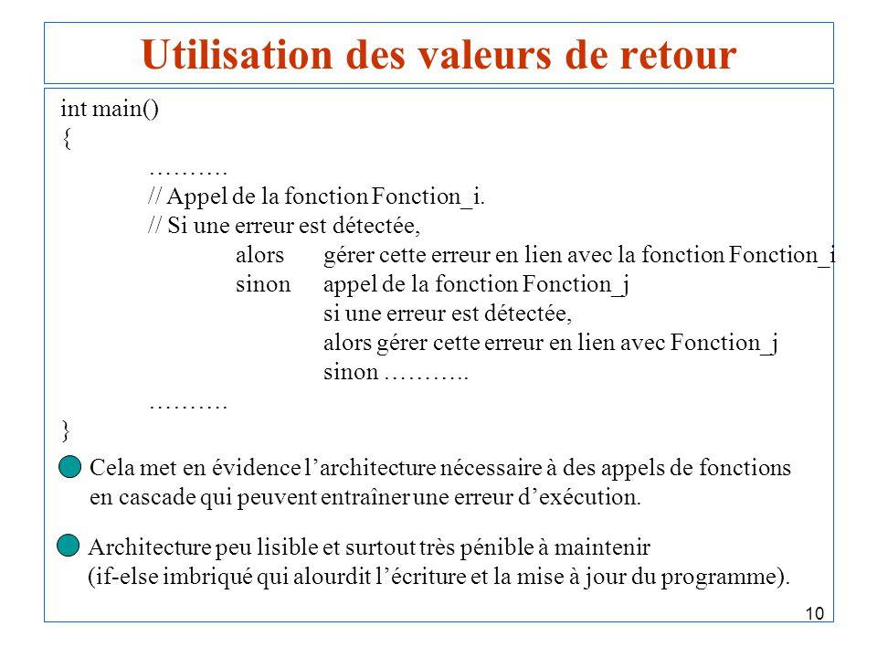 10 Utilisation des valeurs de retour int main() { ………. // Appel de la fonction Fonction_i. // Si une erreur est détectée, alorsgérer cette erreur en l