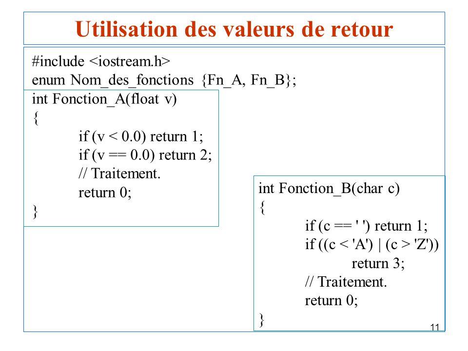 11 Utilisation des valeurs de retour #include enum Nom_des_fonctions {Fn_A, Fn_B}; int Fonction_A(float v) { if (v < 0.0) return 1; if (v == 0.0) retu