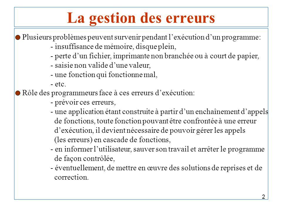 2 La gestion des erreurs Plusieurs problèmes peuvent survenir pendant lexécution dun programme: - insuffisance de mémoire, disque plein, - perte dun f