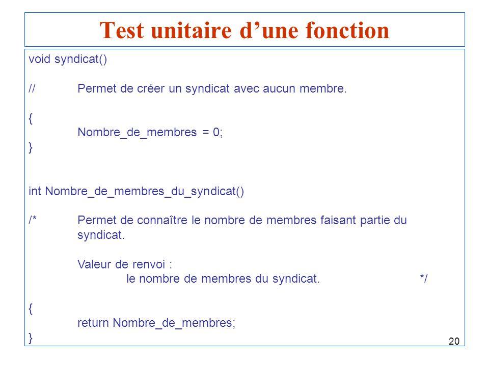 20 Test unitaire dune fonction void syndicat() //Permet de créer un syndicat avec aucun membre. { Nombre_de_membres = 0; } int Nombre_de_membres_du_sy