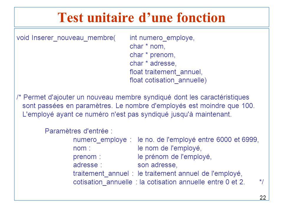 22 Test unitaire dune fonction void Inserer_nouveau_membre(int numero_employe, char * nom, char * prenom, char * adresse, float traitement_annuel, flo