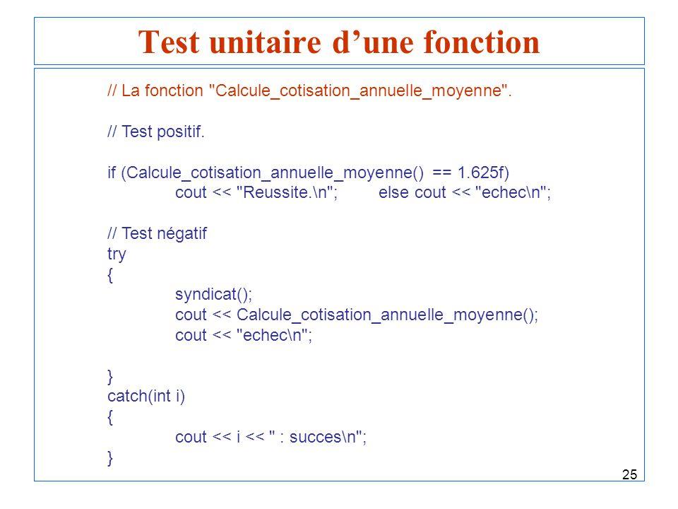 25 Test unitaire dune fonction // La fonction