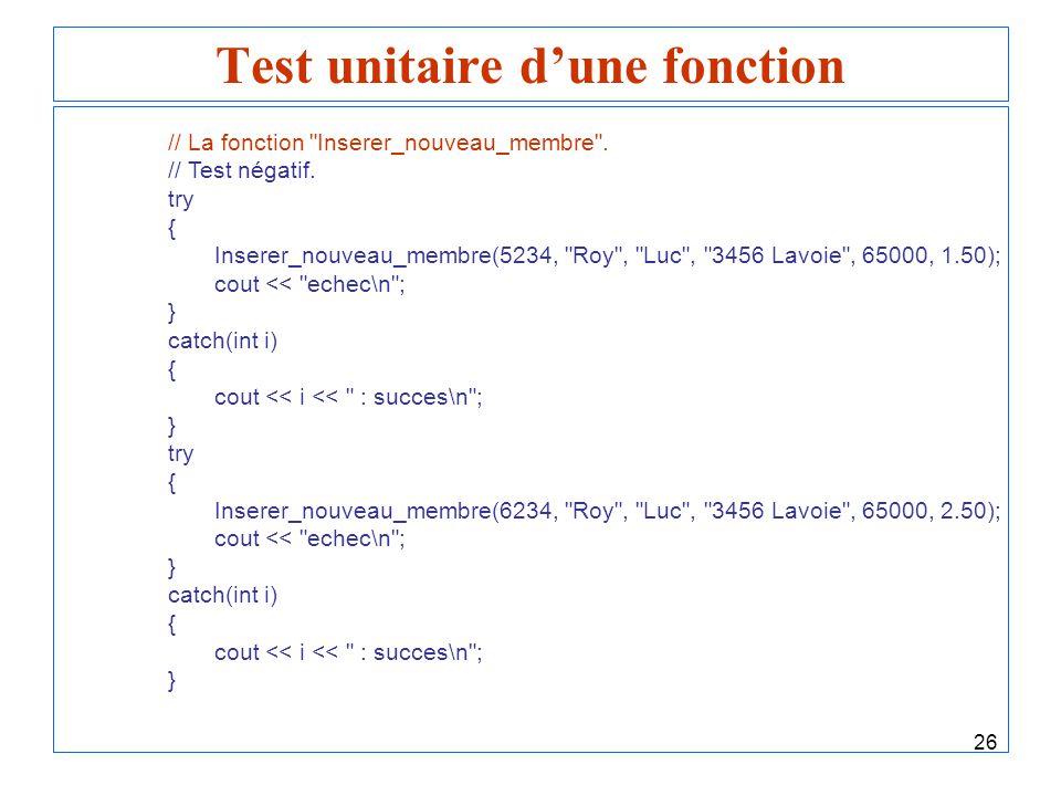 26 Test unitaire dune fonction // La fonction