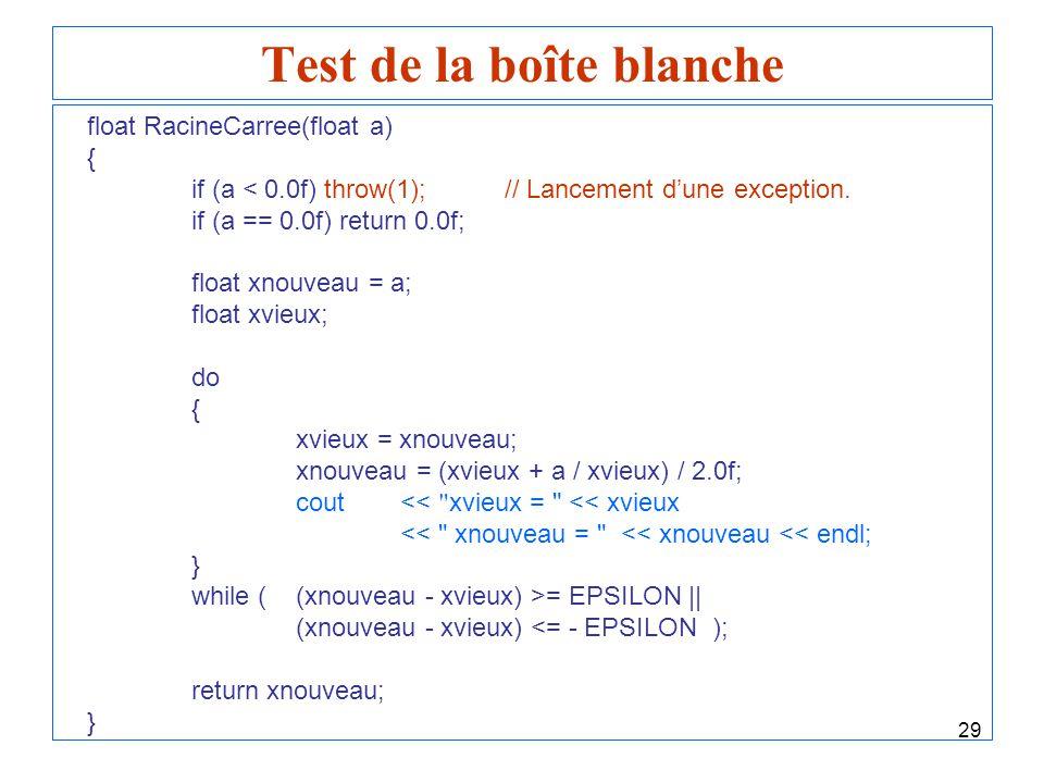 29 Test de la boîte blanche float RacineCarree(float a) { if (a < 0.0f) throw(1);// Lancement dune exception. if (a == 0.0f) return 0.0f; float xnouve