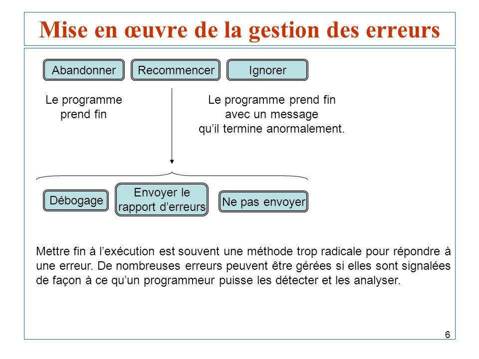 6 Mise en œuvre de la gestion des erreurs AbandonnerRecommencerIgnorer Débogage Envoyer le rapport derreurs Ne pas envoyer Le programme prend fin Le p