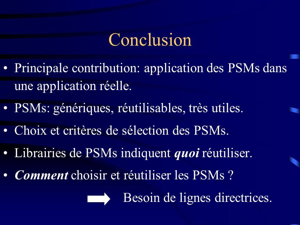 Principale contribution: application des PSMs dans une application réelle.