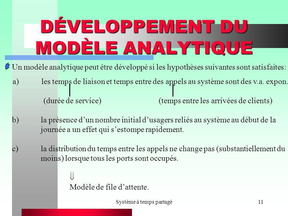 Système à temps partagé11 DÉVELOPPEMENT DU MODÈLE ANALYTIQUE Un modèle analytique peut être développé si les hypothèses suivantes sont satisfaites: a)