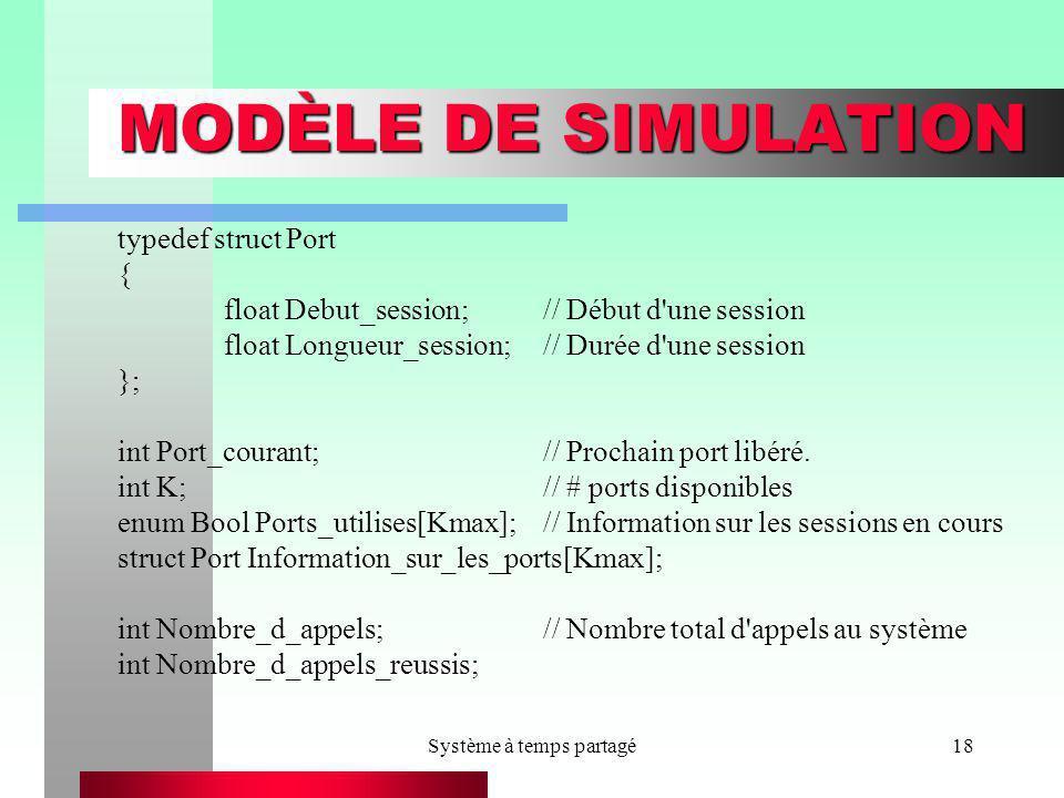 Système à temps partagé18 MODÈLE DE SIMULATION typedef struct Port { float Debut_session;// Début d'une session float Longueur_session;// Durée d'une