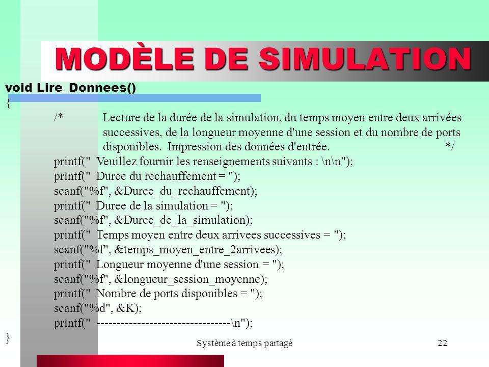 Système à temps partagé22 MODÈLE DE SIMULATION void Lire_Donnees() { /*Lecture de la durée de la simulation, du temps moyen entre deux arrivées succes