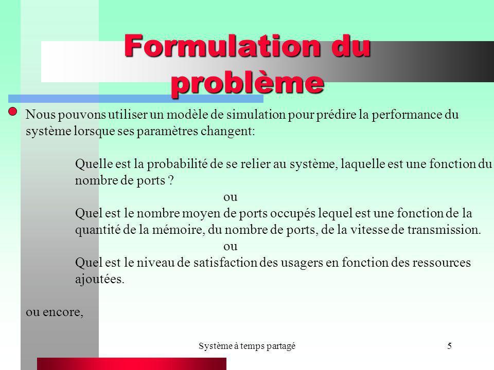 Système à temps partagé5 Formulation du problème Nous pouvons utiliser un modèle de simulation pour prédire la performance du système lorsque ses para