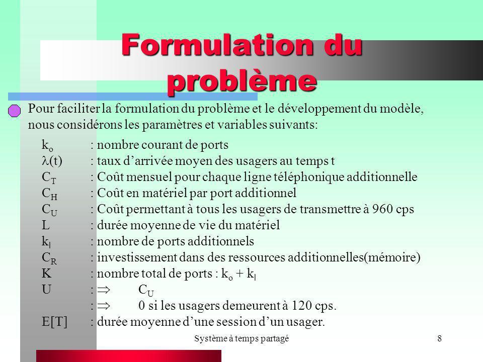Système à temps partagé8 Formulation du problème Pour faciliter la formulation du problème et le développement du modèle, nous considérons les paramèt
