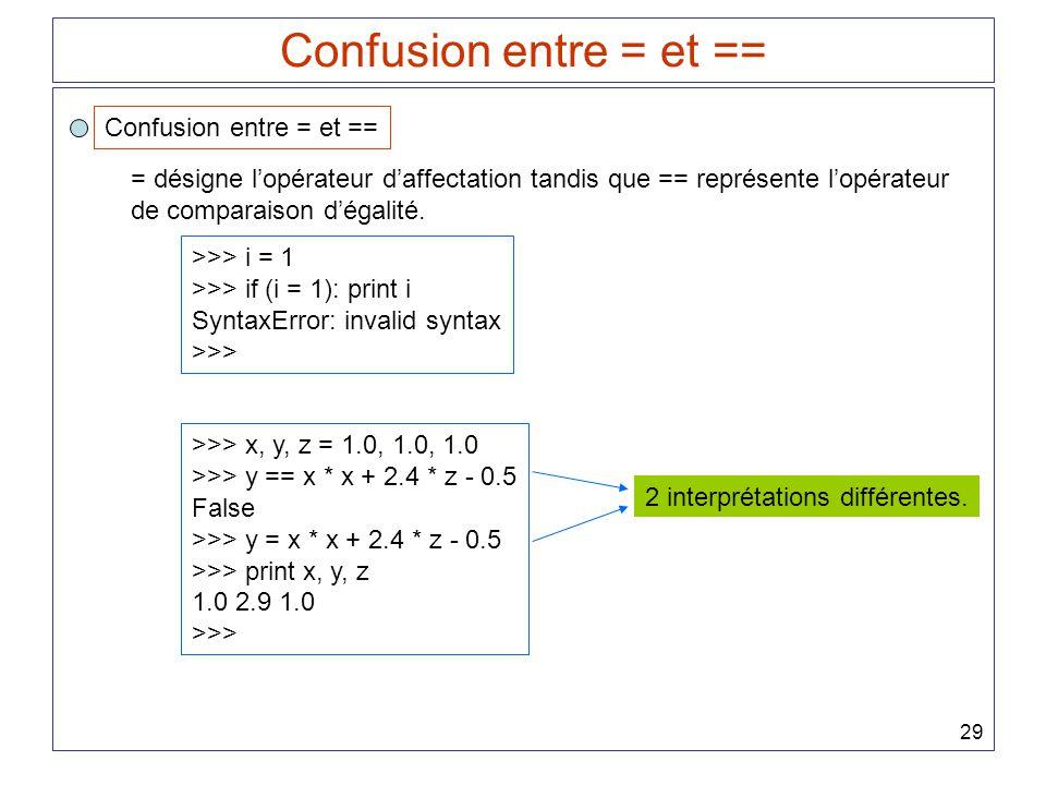 29 Confusion entre = et == = désigne lopérateur daffectation tandis que == représente lopérateur de comparaison dégalité. >>> i = 1 >>> if (i = 1): pr
