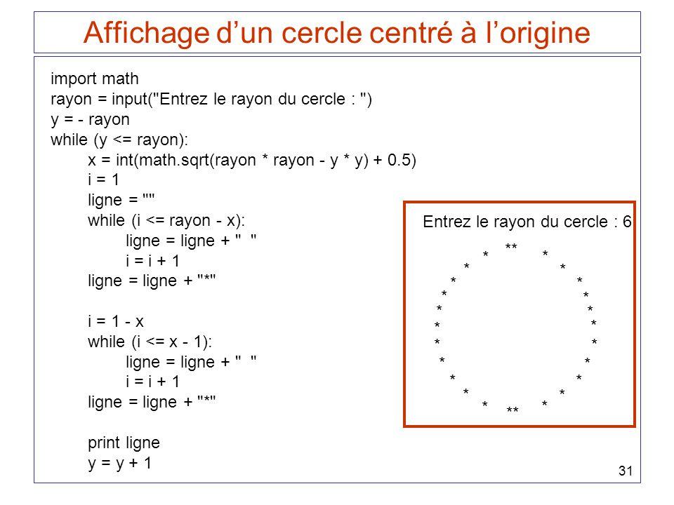 31 Affichage dun cercle centré à lorigine import math rayon = input(