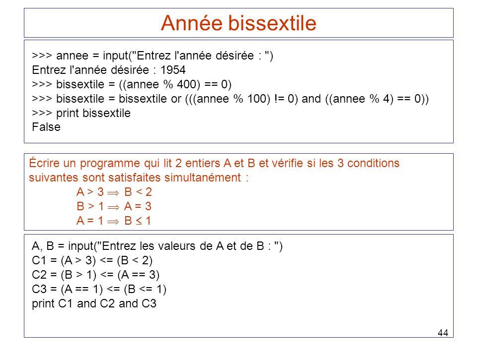 44 Année bissextile >>> annee = input(