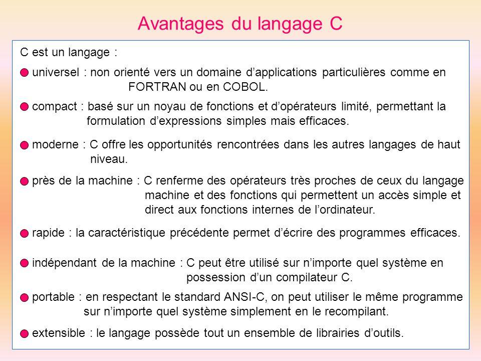 Avantages du langage C C est un langage : universel : non orienté vers un domaine dapplications particulières comme en FORTRAN ou en COBOL. compact :