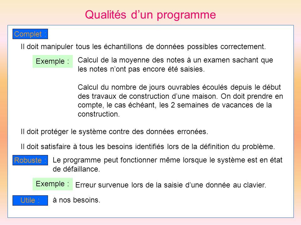 Qualités dun programme Complet : Il doit manipuler tous les échantillons de données possibles correctement. Exemple : Calcul de la moyenne des notes à