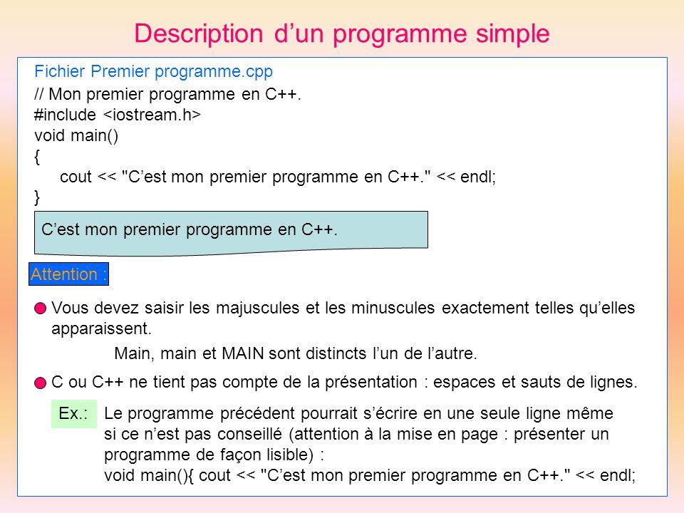 Description dun programme simple Fichier Premier programme.cpp // Mon premier programme en C++. #include void main() { cout <<