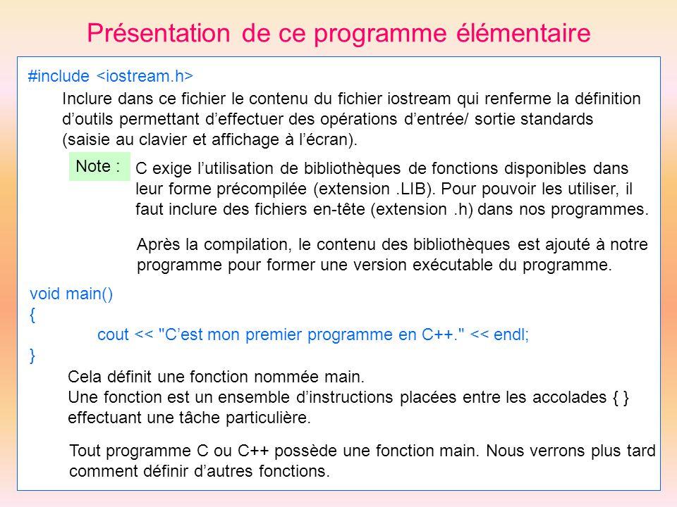 Présentation de ce programme élémentaire #include Inclure dans ce fichier le contenu du fichier iostream qui renferme la définition doutils permettant