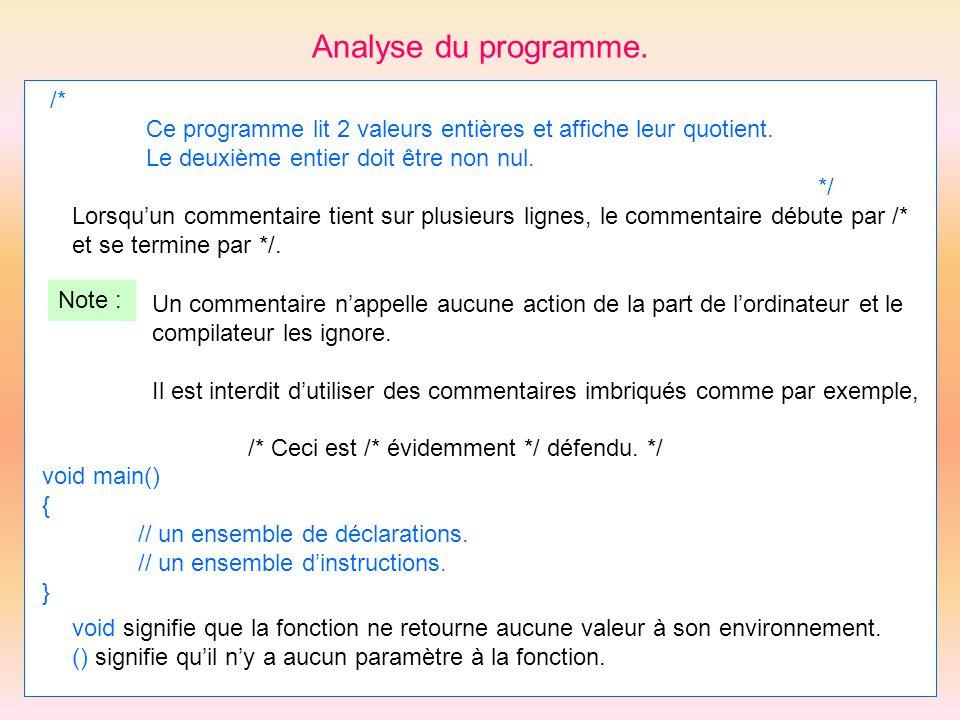 Analyse du programme. /* Ce programme lit 2 valeurs entières et affiche leur quotient. Le deuxième entier doit être non nul. */ Lorsquun commentaire t