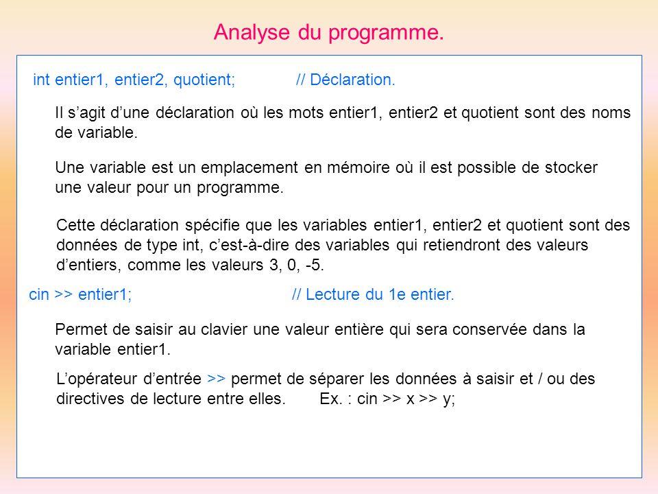 Analyse du programme. int entier1, entier2, quotient;// Déclaration. Il sagit dune déclaration où les mots entier1, entier2 et quotient sont des noms
