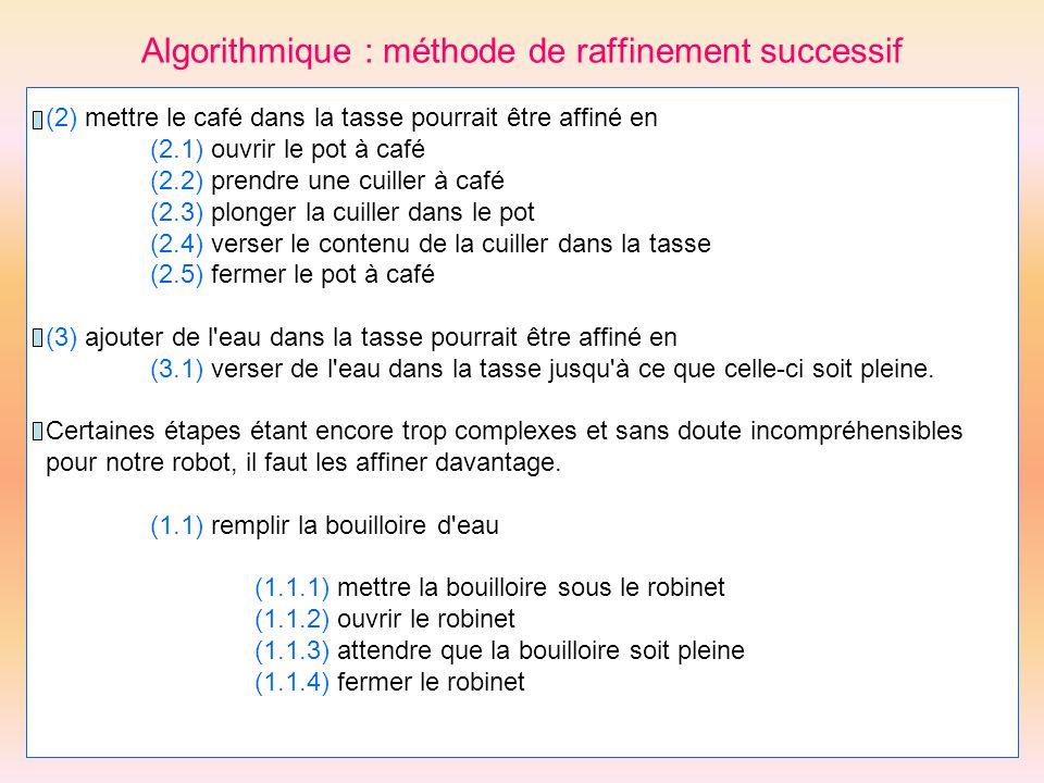 Algorithmique : méthode de raffinement successif (2) mettre le café dans la tasse pourrait être affiné en (2.1) ouvrir le pot à café (2.2) prendre une