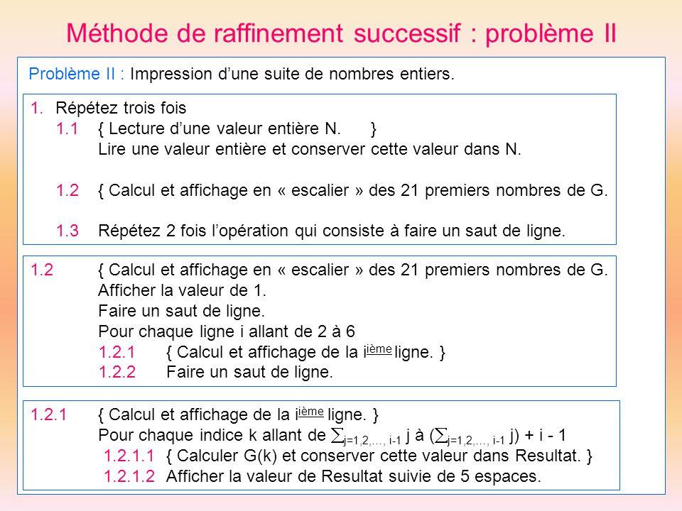 Méthode de raffinement successif : problème II Problème II : Impression dune suite de nombres entiers. 1.Répétez trois fois 1.1{ Lecture dune valeur e