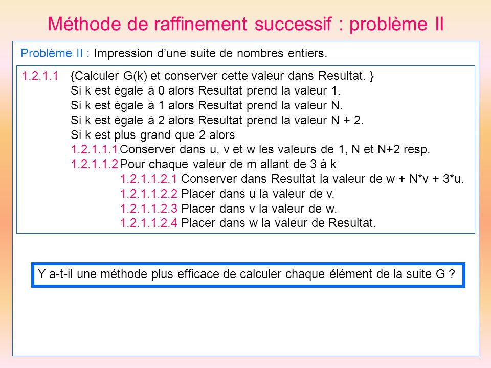 Méthode de raffinement successif : problème II Problème II : Impression dune suite de nombres entiers. 1.2.1.1 {Calculer G(k) et conserver cette valeu
